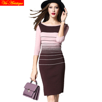 2018 mùa xuân mùa hè váy của phụ nữ dài thun knit dresses đen hồng trắng cà phê sọc bodycon casual slim fit office