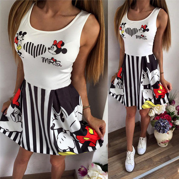 minnie mickey mous women cartoon stripes short swing dress miki vestidos cute clothes clothing female party dress Top