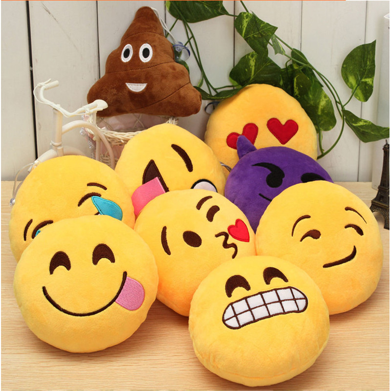 2018 Funny Creative QQ Emoji Smiley Cushion Decoration Sofa Plush Pillow Filled Toy Chair Exciting Baby Face Smile