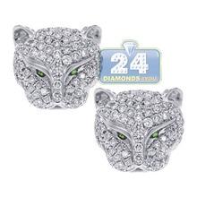 Hot Sale Silver Color Leopard Head Stud Earrings for Women M