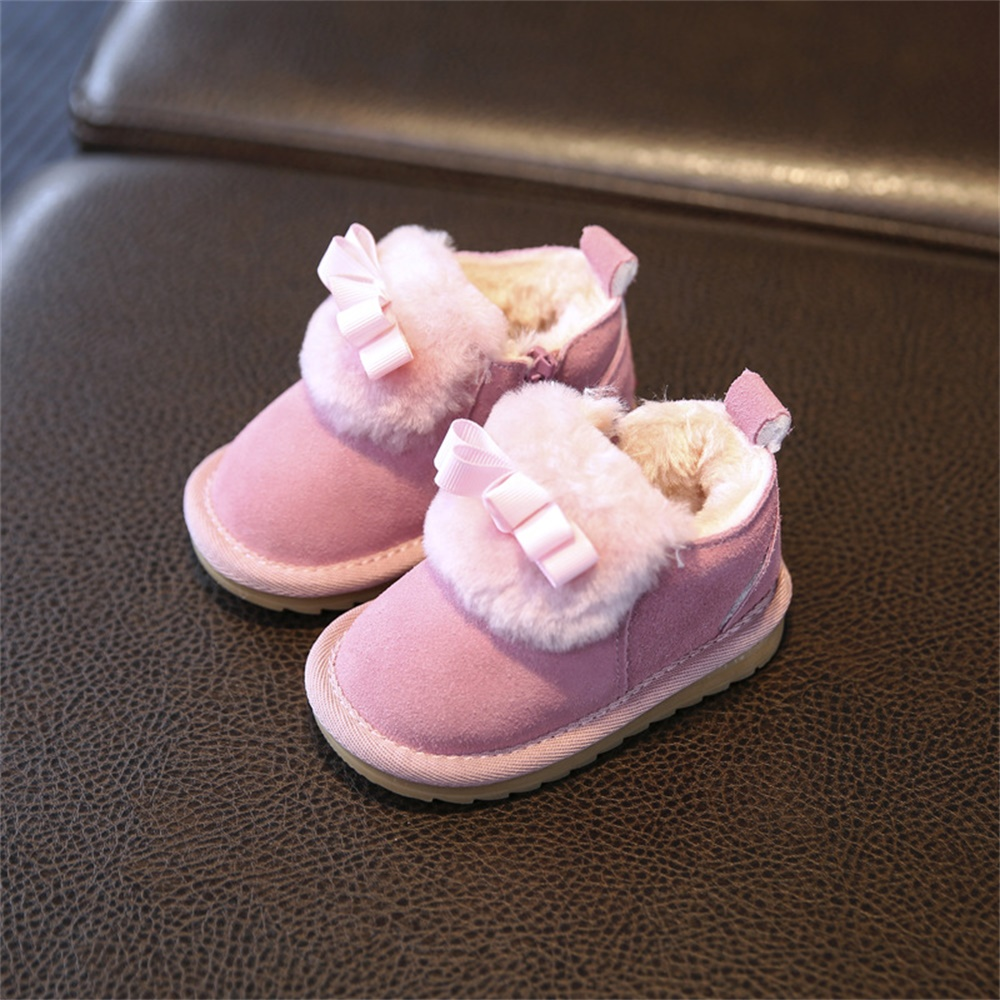 ФОТО warm plush inside soft leather anti-slip thermal baby first walker baby shoes baby boots newborn shoes infants shoes sneakers