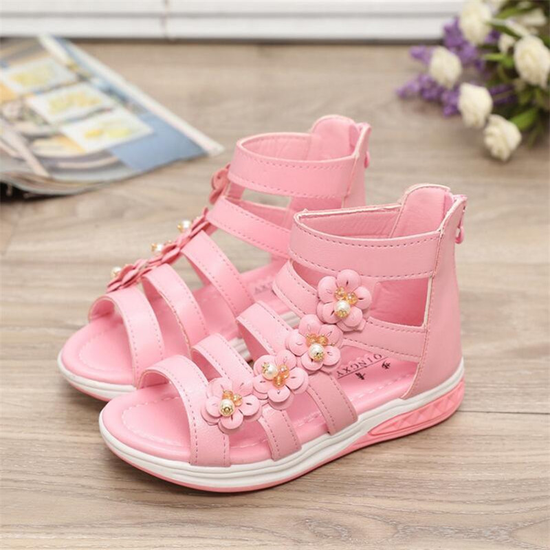 Summer Cute Infant Kids Baby Girls Elegant  Flower Hallow Sandals Princess Shoes