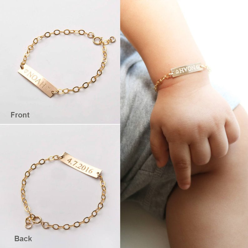 2019 Custom Baby Bracelet Name Stainless Steel Adjustable Baby Toddler Child ID Bracelet Personalized Girl Boy Birthday Gift Kid in Chain Link Bracelets from Jewelry Accessories