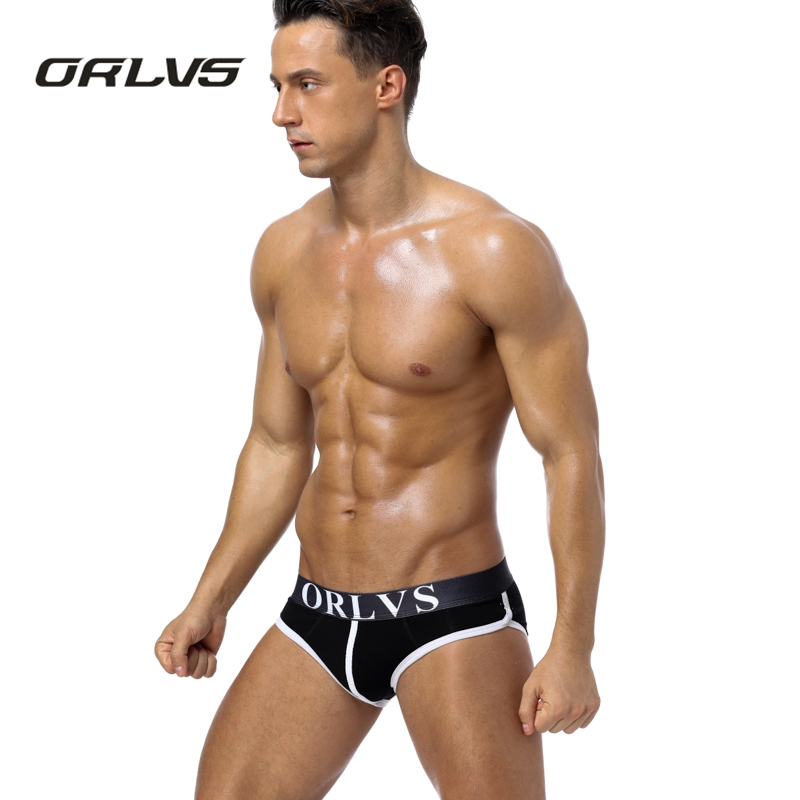 ORLVS Brand Men Underwear Shorts Cotton Men Briefs Sexy Men briefs Panties 5 Colors Underpants Pouch OR73