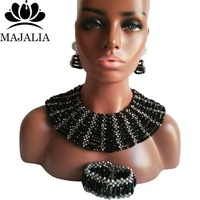 Majalia Classic Nigerian Wedding African Jewelry Set Black and Silver Crystal Necklace Bride Jewelry Sets 10SX016