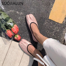 SUOJIALUN 2019 Spring Autumn  Women Flat Shoes Split Pig Toe Tabi Ninja Leather Slip On Loafers Brand Design Flats Casual Shoes цена