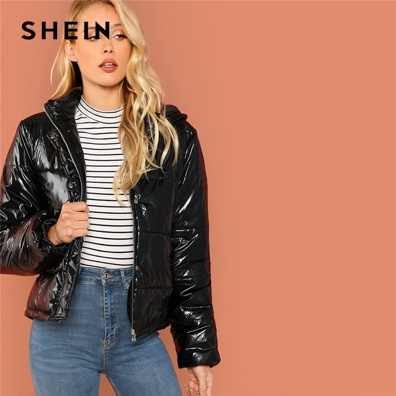 420639e894 SHEIN Black Minimalist Casual Hooded Solid Zip Up Puffer Coats 2018 Autumn  Winter Going Out Thermal