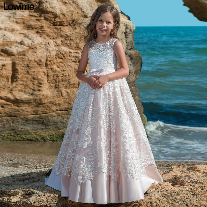 New Arrival Lace   Flower     Girl     Dresses   For Weddings A-Line First Communion   Dresses   For   Girls   Cap Sleeves   Girls   Pageant   Dresses