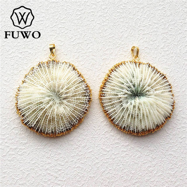 FUWO 自然な白珊瑚ペンダント 24 金電気めっきマリンサンゴ花ファッション女性ジュエリー卸売 PD503