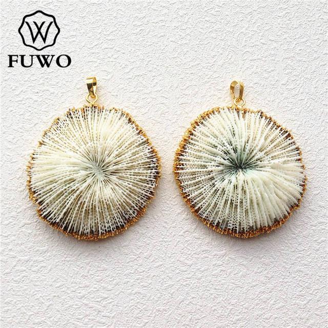 FUWO Bianco Naturale di Corallo Del Pendente 24K Oro Placca Marine di Corallo Del Fiore Delle Donne di Modo Commercio Allingrosso Dei Monili PD503