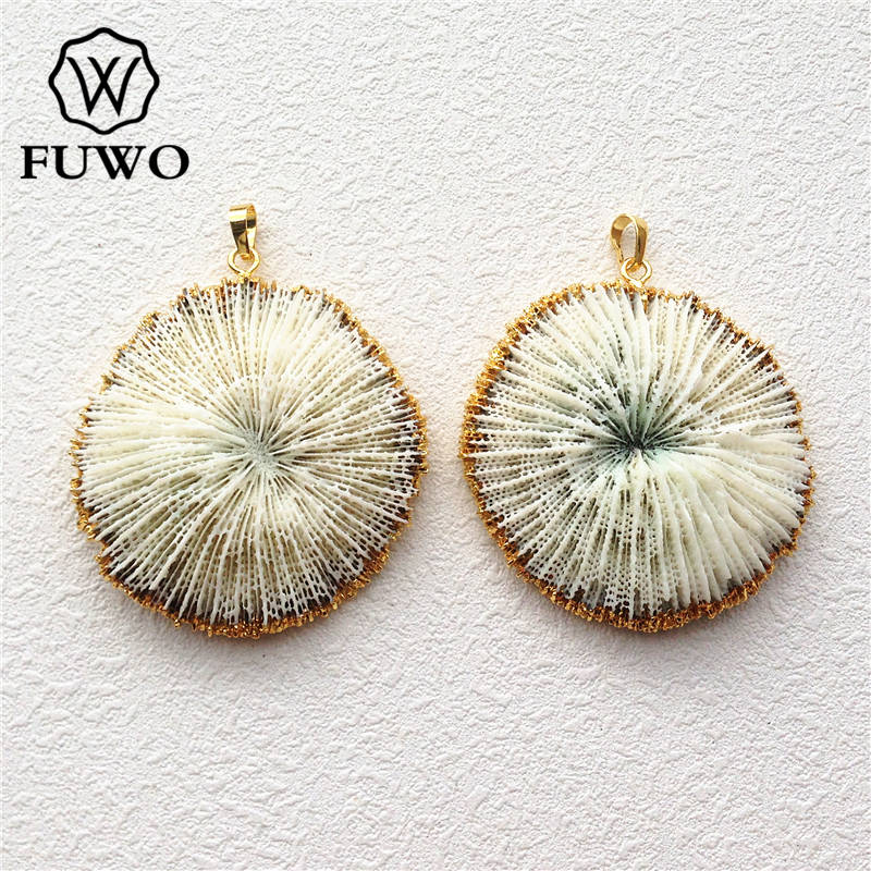 FUWO Jewelry Coral-Pendant Flower Marine Gold White Natural Wholesale Fashion Women PD503