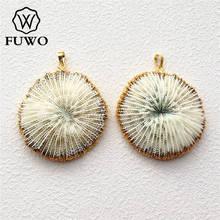 FUWO pendentif en corail blanc naturel 24K, plaqué or, fleur de corail marin, à la mode, pour femmes, vente en gros, PD503