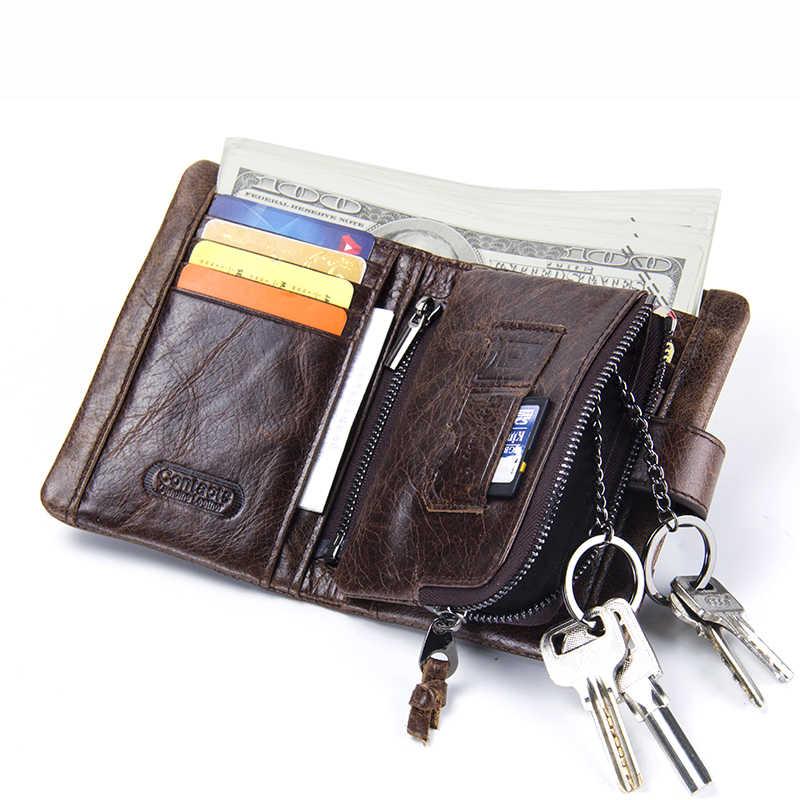 Vintage porte-monnaie fermeture éclair en cuir véritable court hommes portefeuille avec porte-clés anneau haute qualité porte-carte portefeuilles hommes sac à main