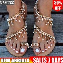 Women Sandals Summer Flat Pearl Sandals Flip Flops Rome