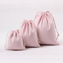 Original Canvas Cotton Drawstring Bag Coffee Gift Candy Packaging Bags Women Travel Pouch Storage High Quality Makeup Bag