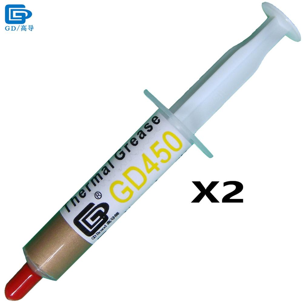 GD Brand Thermal Conductive Paste Grease Silicone Plaster GD450 Heat Sink Compound 2 Pieces Net Weight 7 Grams Golden Cold SY7