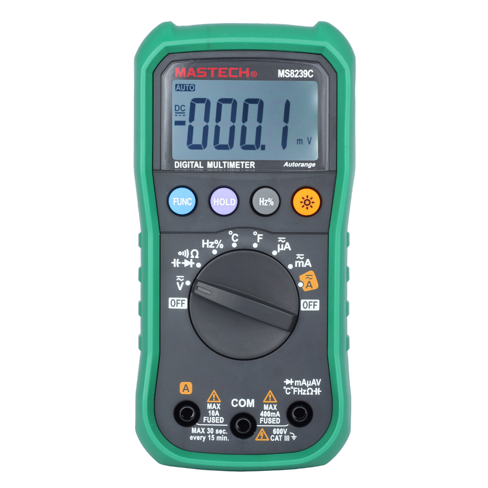 Mastech MS8239C Handheld Auto Range Digital Multimeter AC DC Voltage Current Capacitance Resistance Frequency Temperature Tester