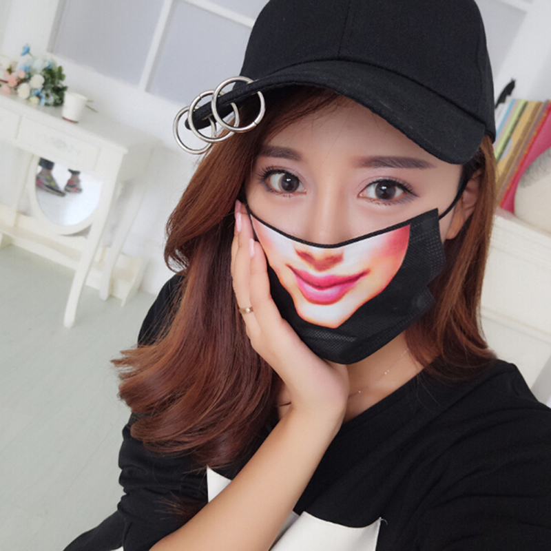 5Pcs 3D Cute Funny Expression Mouth Face Mask Nonwovens Dustproof Mouth Anime Women Face Mouth Mask