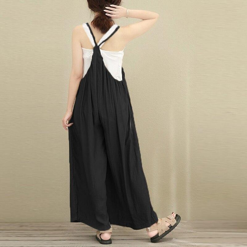 2018 Hot Sale Women Wide Leg Jumpsuits Solid Vocation Casual Cotton Linen Long Trousers Stylish Ladies Rompers Plus Size S-5XL 5