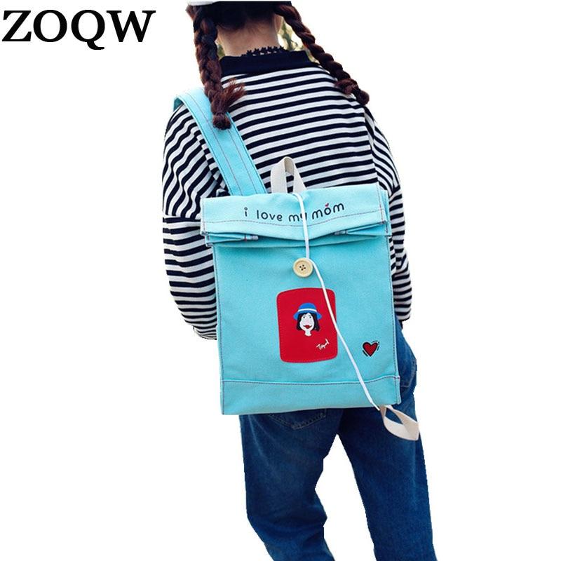 Harajuku Printing Backpack Female Canvas Backpack Travel School Bags For Teenager Girls Book Bag Kanken Rucksack Mochila Wyq153