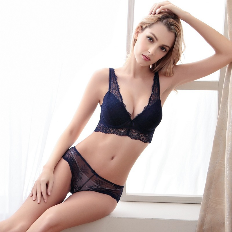 214519d0f0f 2018 New Bra Brief Set Wire Free Deep V Shape Lace Embroidery Thin Women Intimates  lingerie gift