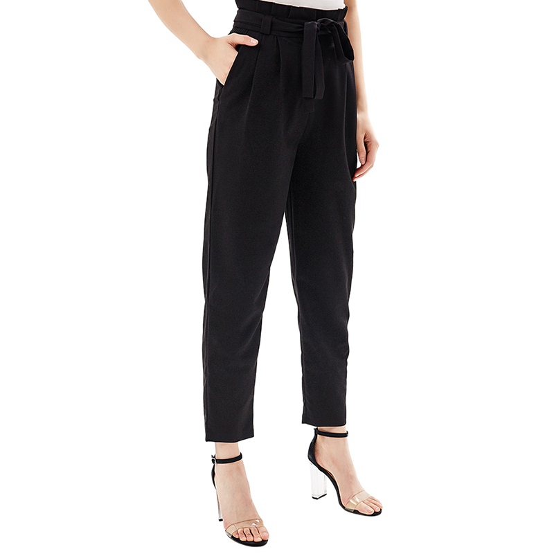 Pants & Capris MODIS M181W00457 women capri trousers for female TmallFS stylish high waisted black wide leg women s capri pants
