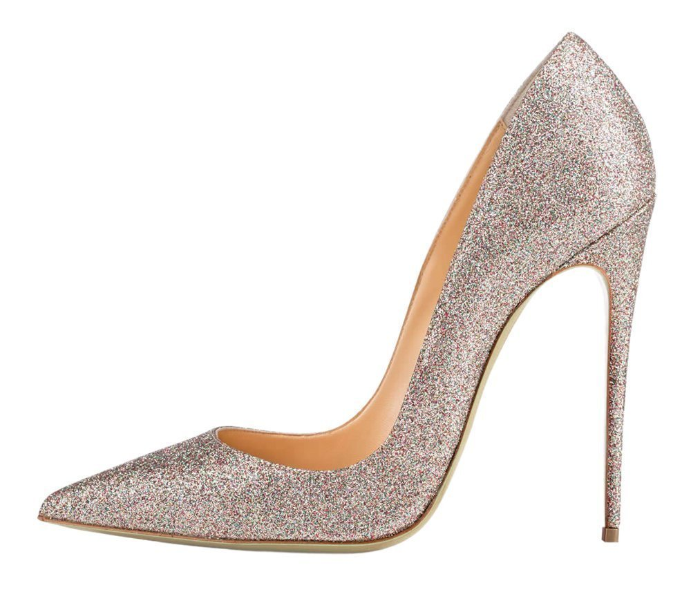 ФОТО 2016 New fashion stiletto high heel Frauen pumps pointed toe Bling Glitter slip-on women's shoes for wedding party big size5-15