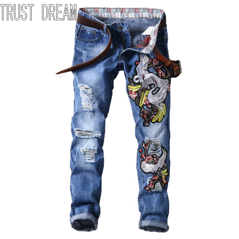 TRUST DREAM Europeans Designed Men Embroidered Flower Bird Ripped Hole Jean Casual Distressed Slim Man Fashion Jeans l jean camp trust