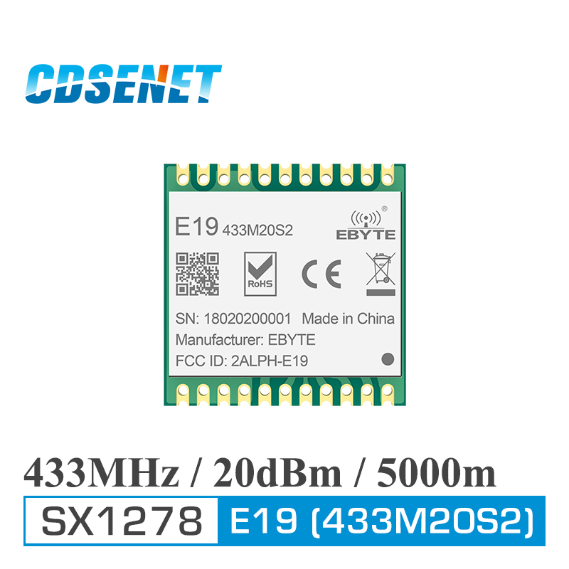 E19-433M20S2 SX1278 LoRa 433MHz SMD SPI Long-range Communicator Radio 100mW Stamp Hole Wireless Transceiver Module LoRa 433