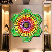 Samsara Mandala Rectangle Print by Rachel Rosenkoetter 7 pieces gorgeous Flower painting Wall Art Picture Christmas gift