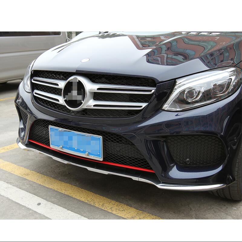For Mercedes Benz GLE Coupe W166 GLS Car Styling Front Bumper Bottom Mesh Grille Grill Lower Cover Trim Stainless Steel Sticker set j40 black steel different trail front bumper w winch plate