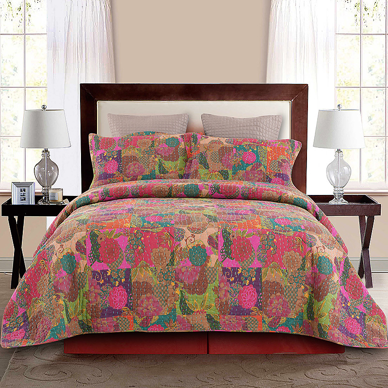 Chausub Bedspread Patchwork Quilt Set 3pcs Country Style