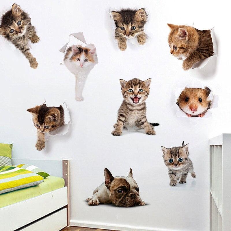 % 3d Katzen Wandaufkleber Wc Aufkleber Loch Ansicht Lebendige Hunde Bad Zimmer Dekoration Tier Vinyl Decals Kunst Aufkleber Wand Poster