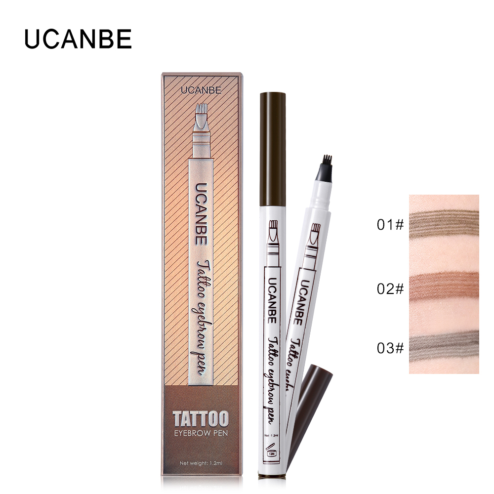 UCANBE Eye Makeup Tattoo Eyebrow Pencil Matte 3 Color Waterproof Eyes Brow Pen Smudge-proof Eyebrows Natural Texture