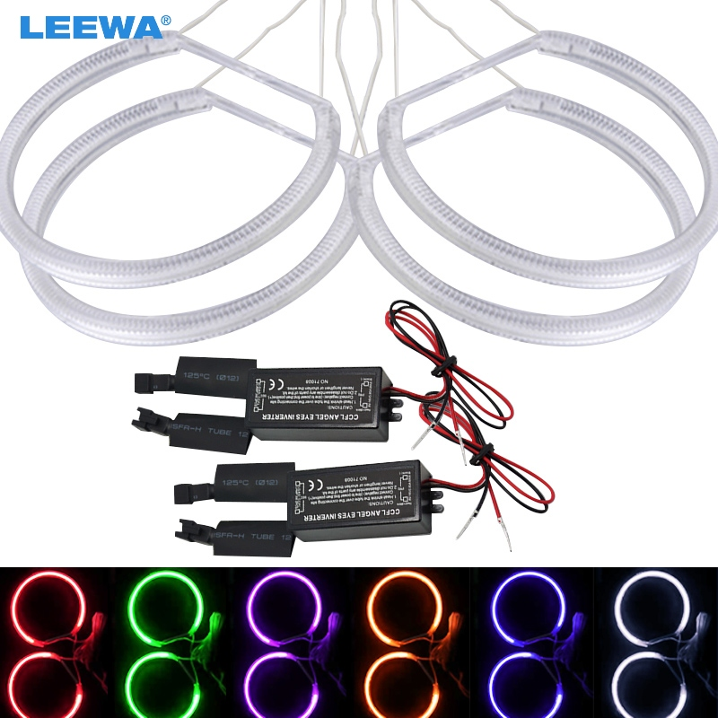 LEEWA 4X146MM Special Car Headlight CCFL Halo Rings Angel Eyes Light for BMW E46(1998-2001)Vorfacelift White/Blue DRL #CA3214