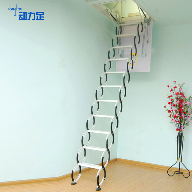 Enough Power Semi Automatic Retractable Attic Stairs Stepping Tricyclic  Villa Duplex Invisible Lift Home Folding