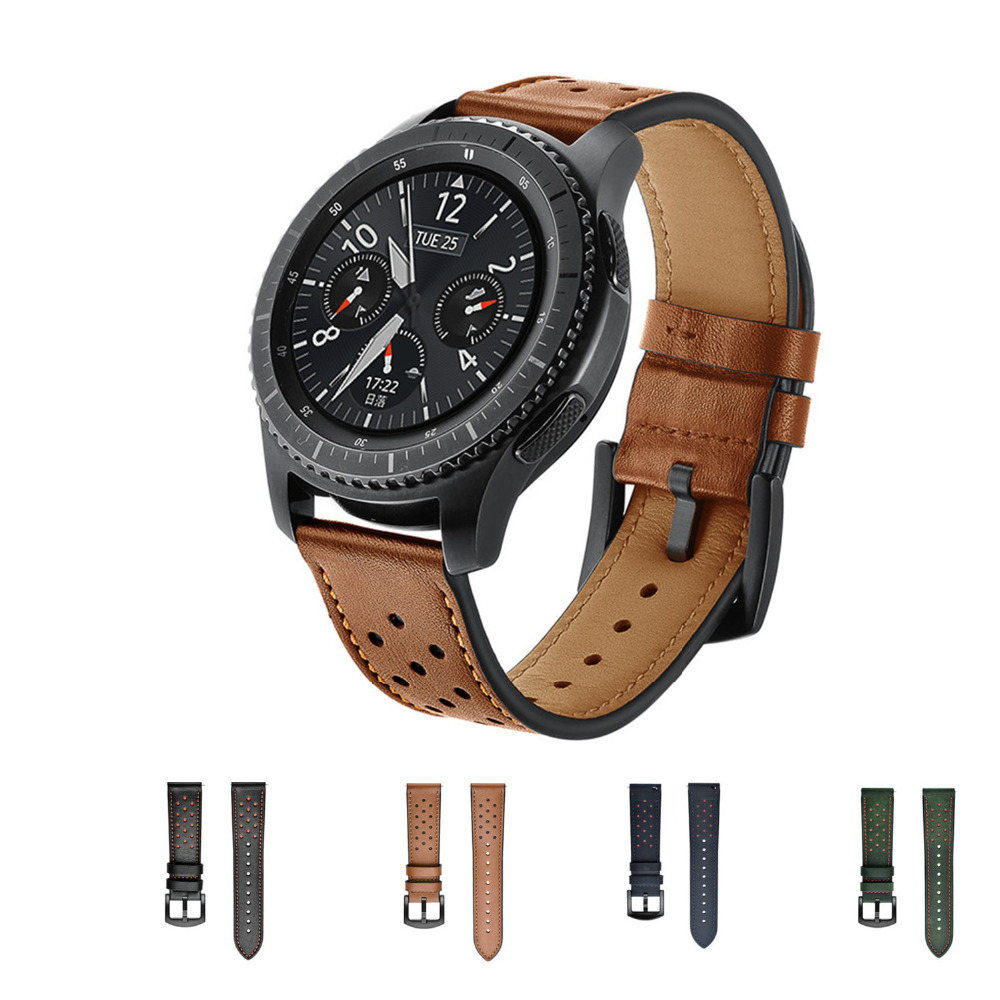 22mm Genuine Leather Strap Band for Samsung Gear S3 Frontier/Classic Smart watch bracelet Watchband smartwatch wrist belt genuine leather watch band 22mm for samsung gear s3 classic frontier stainless steel butterfly clasp strap wrist belt bracelet