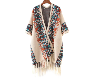 Женский вязаный свитер Cheshanf, осенне-зимний свитер в этническом стиле, теплая шаль, модное уличное пончо, накидка