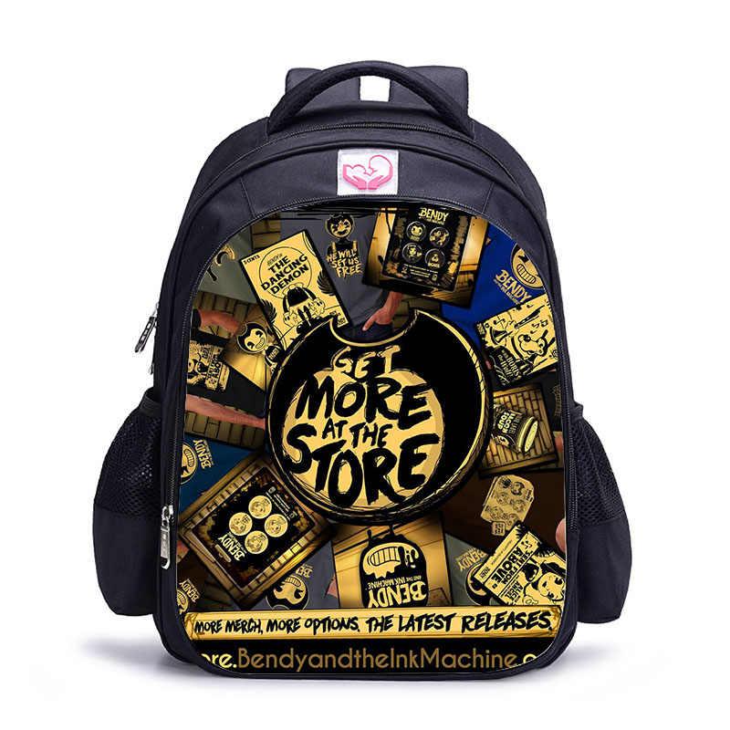 LUOBIWANG Bendy и чернильная машина школьные сумки для мальчиков рюкзаки знаменитая игра печатный рюкзак для подростка Студенческая Книга сумка