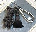 Encanto del bolso popobe oso bolsa de error del encanto del monedero de lujo de cristal negro popobe llavero para los hombres cordón de cuero para regalo borla clave