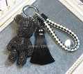bag charm popobe bear luxury black crystal bag bug purse charm popobe key ring for men leather lanyard for key tassel gift