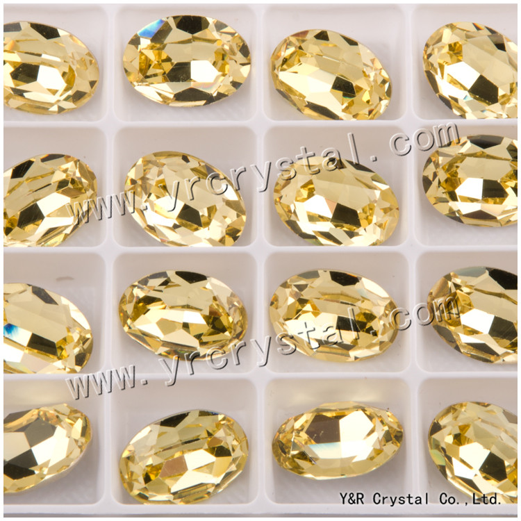 #4120 10*14mm 13*18mm 18*25mm  Oval Fancy Crystal Pointed Back Jonquil 3d Nail Art crystal decorations rhinestones 10 18