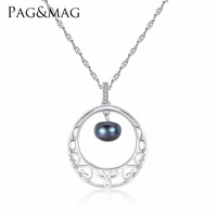 PAG&MAG Trendy Style 18K Gold Color Real 925 Sterling Silver Pendant Necklace Natural Pearl Necklaces for Women Fine Jewelry