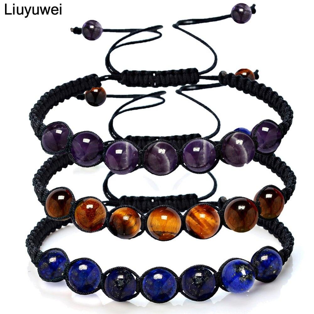40a5a468cf5b4 Liuyuwei 8mm Pure Natural Amethysts Crystal Stone Beads Men Strand  Bracelets For Women Homme Femme Yoga Jewelry YWBYZ043