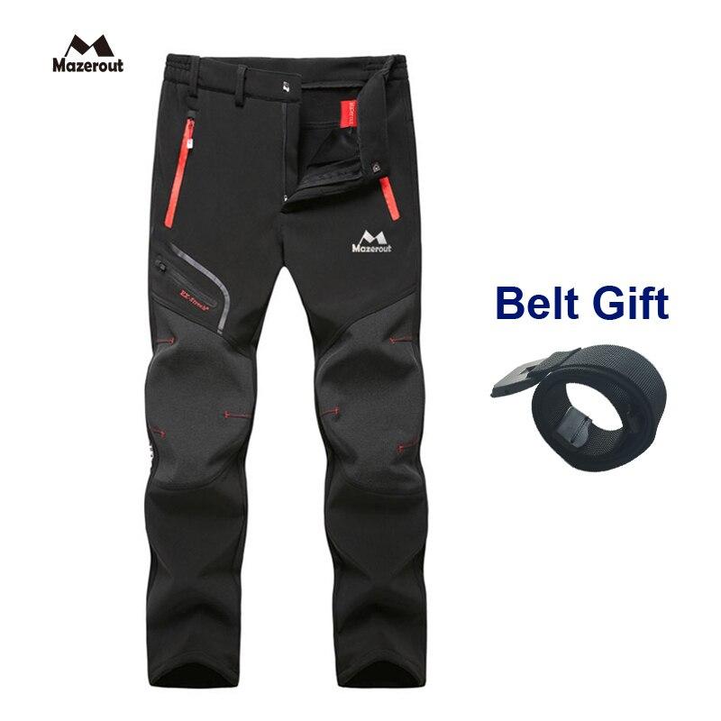 Oversized Camping Trekking Hiking Climbing Skiing Fishing Winter Waterproof Pants Men Fleece Outdoor Soft Shell Trouser Sports
