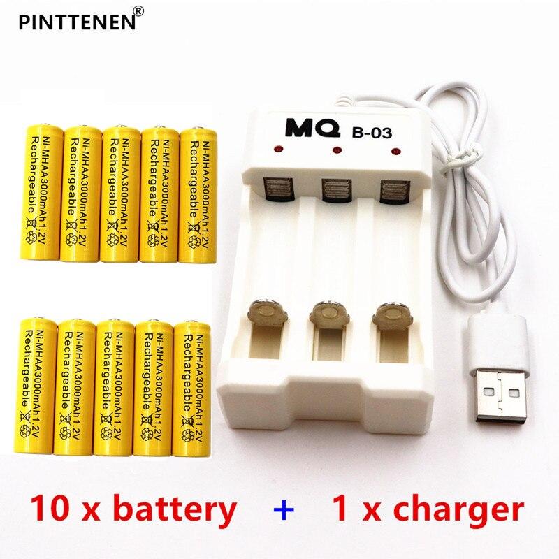 Yellow AA Rechargeable Battery NiMH 1.2V 3000mAh+Universal Smart 3-Slot AA/AAA Rechargea ...