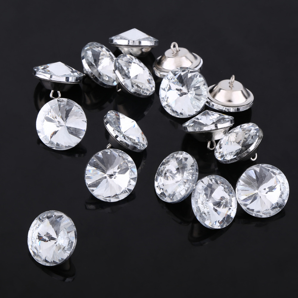 Wholesale 25 PCS 25MM Clear Glass Rhinestone Upholstery Buttons Diamond Shank Craft Embellishments Bulk for Tufting Sofa Headboard 25