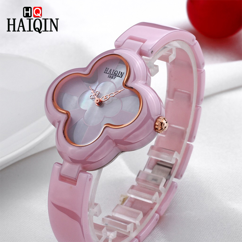 HAIQIN Quartz Women's Watches Casual Four Leaf Clover Shape Bracelet Wristwatch Luxury Noble Lady Ceramic Watch Relogio Feminino
