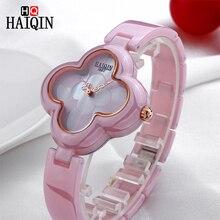 HAIQIN zegarki kwarcowe damskie Casual czterolistna koniczyna kształt bransoletka zegarek luksusowa szlachetna dama zegarek ceramiczny relogio feminino