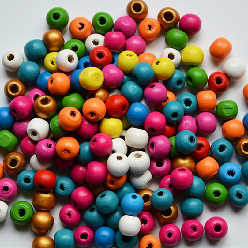 200 Pcs Mix Natural Wooden Beads European Beads For Kids DIY Jewelry Making